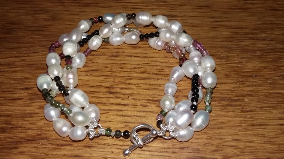 Freshwater Pearls and Tourmaline Birthday Bracelet