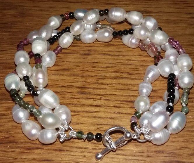 Freshwater Pearls and Tourmaline Birthday Bracelet