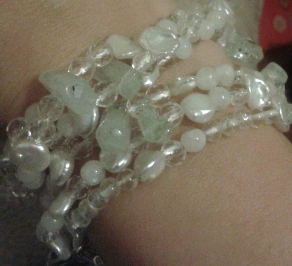 Aqua, Pearls, Moonstone and Quartz With Silver T-bar Clasp
